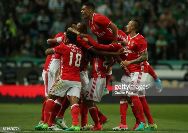 Benfica's defender from Sweden Victor Lindelof celebrates with teammates after scoring a goal during the Primeira Liga match between Sporting CP and...