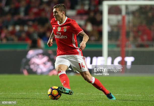 Benfica's defender from Sweden Victor Lindelof in action during the Primeira Liga match between SL Benfica and Moreirense FC at Estadio da Luz on...