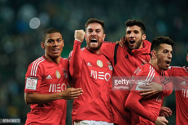 Benfica's defender Jardel Vieira celebrates his goal with Benfica's defender Lisandro Lopez Benfica's forward Pizzi and Benfica's forward Derley...
