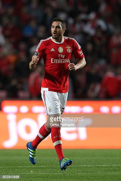 Benfica's defender Jardel Vieira celebrates scoring Benfica's second goal during the match between SL Benfica and Vitoria de Setubal for Portuguese...