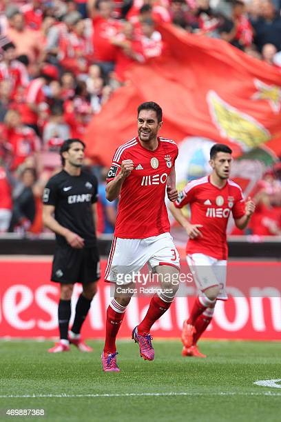 Benfica's defender Jardel Vieira celebrating scoring Benfica«s first goal during the Primeira Liga Portugal match between Benfica and Academica at...