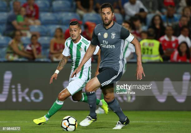Benfica's defender Jardel Vieira from Brasil with Real Betis forward Sergio Leon in action during the Algarve Cup match between SL Benfica and Real...