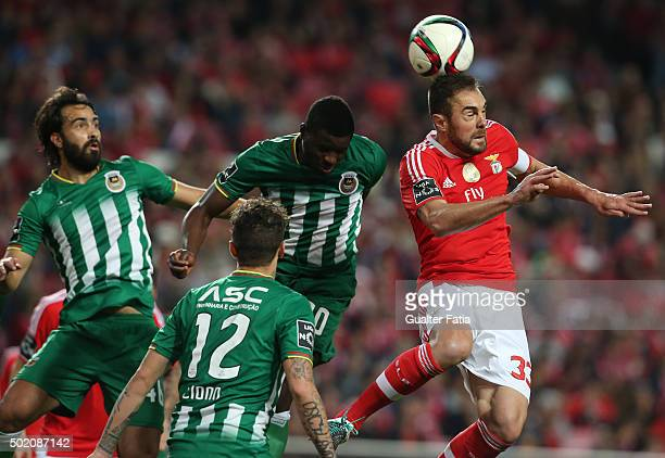 Benfica's defender Jardel with Rio Ave FC's midfielder Alhassan Wakaso and Rio Ave FC's defender Marcelo in action during the Primeira Liga match...