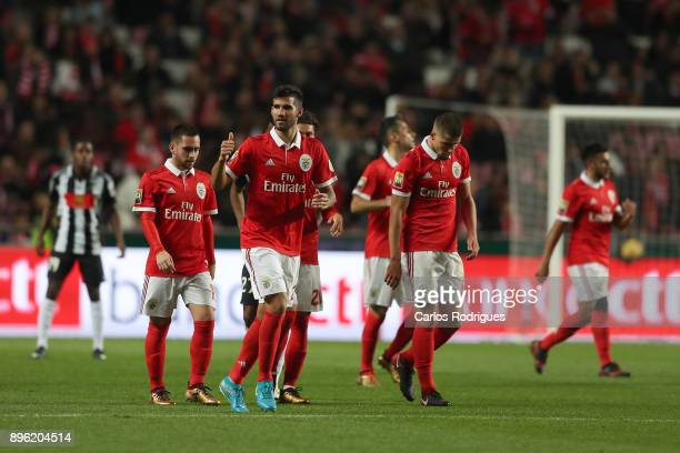 Benfica's defender Lisandro Lopez from Argentina celebrates scoring Benfica second goal during the match between SL Benfica and Portimonense SC for...