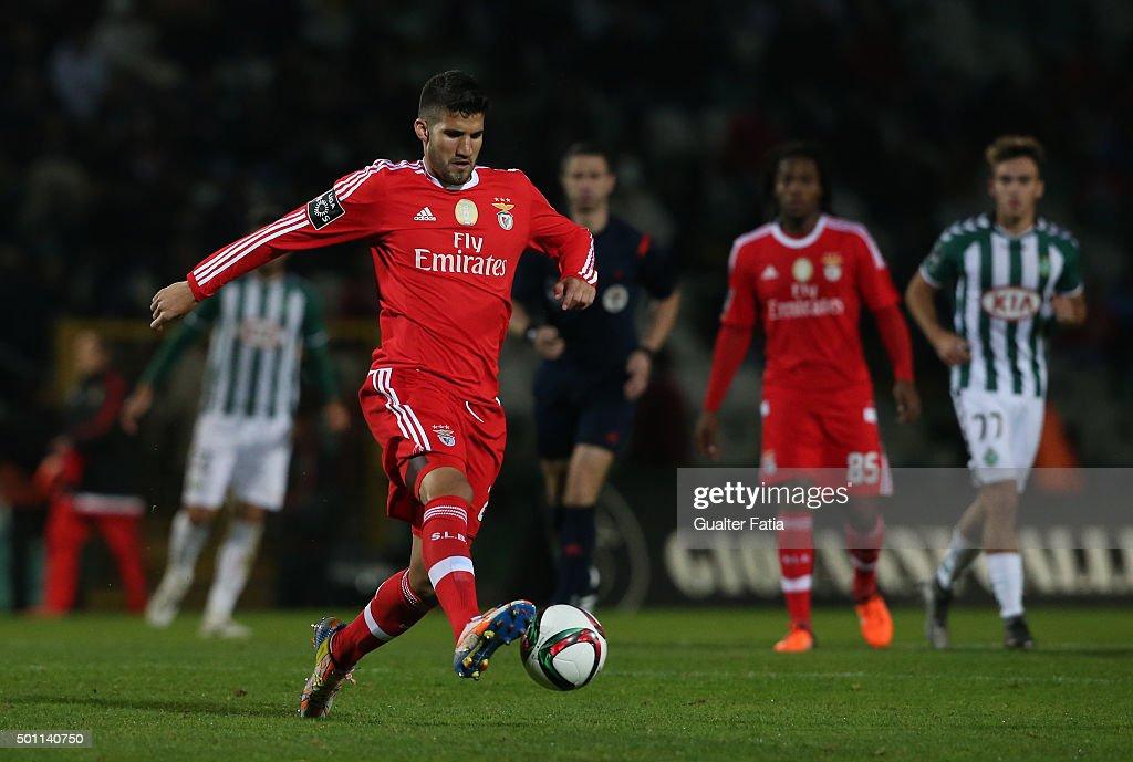 SL Benfica's defender Lisandro Lopez in action during the Primeira Liga match between Vitoria Setubal and SL Benfica at Estadio do Bonfim on December 12, 2015 in Setubal, Portugal.