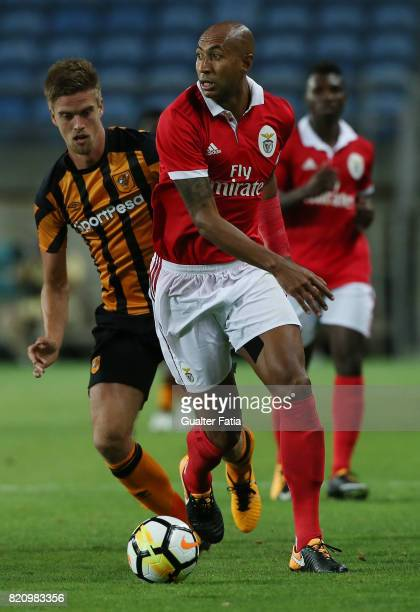 Benfica's defender Luisao from Brasil with Hull City midfielder Markus Henriksen in action during the Algarve Cup match between SL Benfica and Hull...