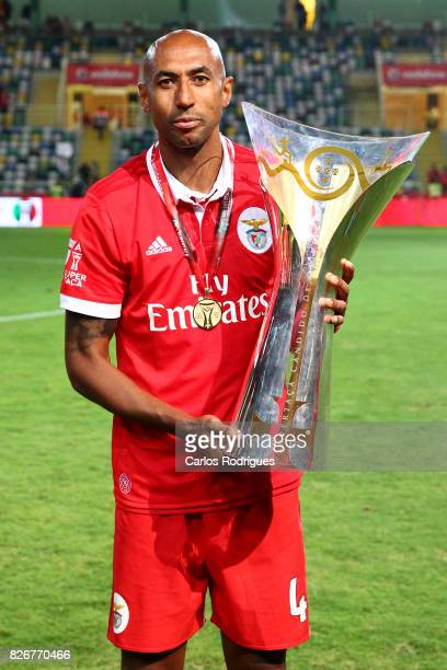 Benfica's defender Luisao from Brasil with the Portuguese Super Cup trophy after the match between SL Benfica and VSC Guimaraes at Estadio Municipal...