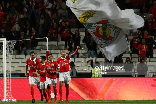 Benficas defender Luisao from Brazil celebrating with is team mate after scoring a goal during the Premier League 2017/18 match between SL Benfica...