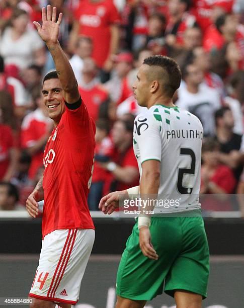 Benfica's defender Maxi Pereira celebrates first goal during the Portuguese First League match SL Benfica v Moreirense FC at Estadio da Luz on...