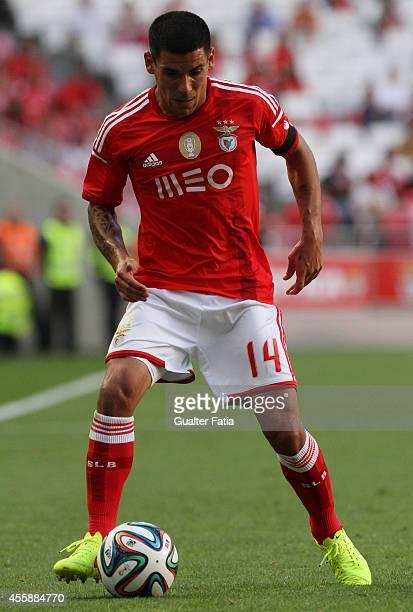 Benfica's defender Maxi Pereira in action during the Portuguese First League match SL Benfica v Moreirense FC at Estadio da Luz on September 21 2014...
