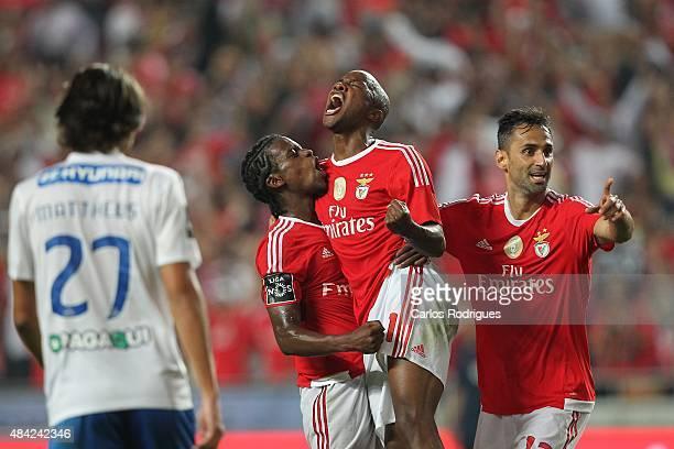 Benfica's defender Nelson Semedo celebrates scoring Benfica«s fourth goal Benfica's midfielder Vitor Andrade and Benfica's forward Jonas during the...