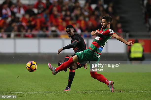 Benficas defender Nelson Semedo from Portugal and Maritimo's forward Antonio Xavier from Portugal during Portuguese Cup match between SL Benfica v CS...