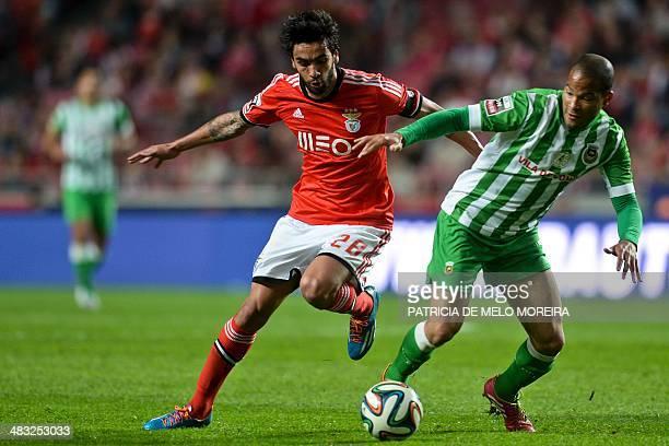 Benfica's defender Silvio Sa Pereira vies with Rio Ave's Peruvian defender Alberto Rodriguez during the Portuguese league football match SL Benfica...