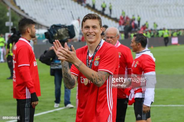 Benficas defender Victor Lindelof from Sweden celebrating after wining the match between SL Benfica and Vitoria SC for the Portuguese Cup Final at...