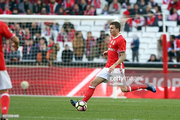 Benfica's defender Victor Lindelof in action during the Portuguese League football match SL Benfica vs Tondela at the Luz stadium in Lisbon on...