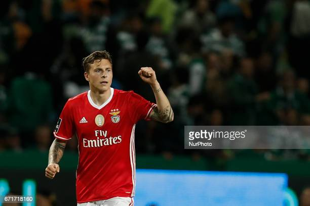 Benfica's defender Victor NilssonLindelof celebrates his goal during Premier League 2016/17 match between Sporting CP vs SL Benfica in Lisbon on...