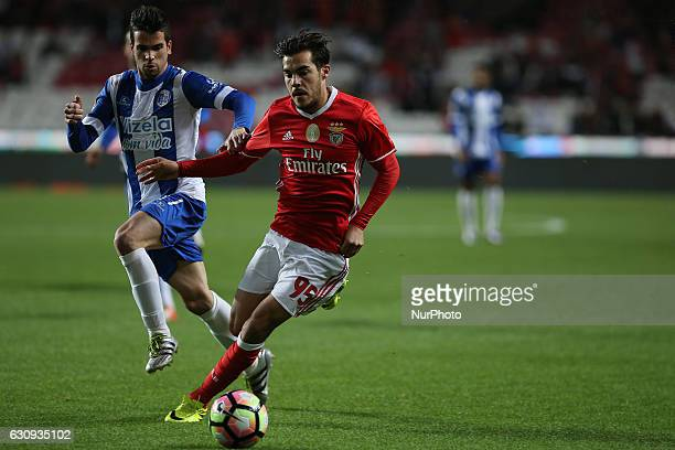 Benficas defender Yuri Ribeiro from Portugal and Vizelas midfielder Diogo Lamelas from Portugal during the Portuguese Cup 2016/17 match between SL...