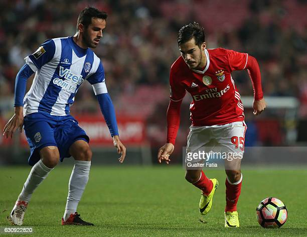 Benfica's defender Yuri Ribeiro with Vizela's midfielder Luis Ferraz from Portugal in action during the Primeira Liga match between SL Benfica and FC...