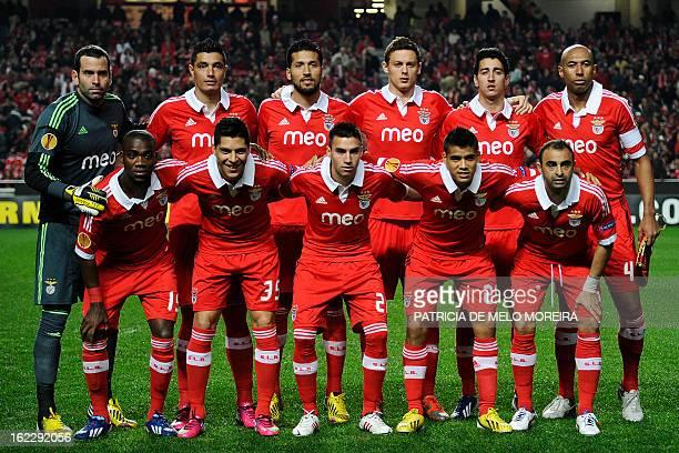 Benfica's Dutch midfielder Ola John, Benfica's Argentinian midfielder Enzo Perez, Benfica's Argentinian forward Nicolas Gaitan, Benfica's Paraguayan...