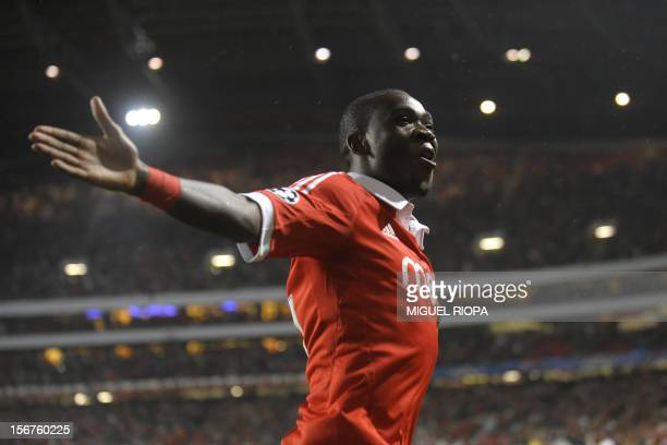 Benfica's Dutch midfielder Ola John celebrates after scoring a goal during the UEFA Champions League football match SL Benfica vs Celtic FC at the...