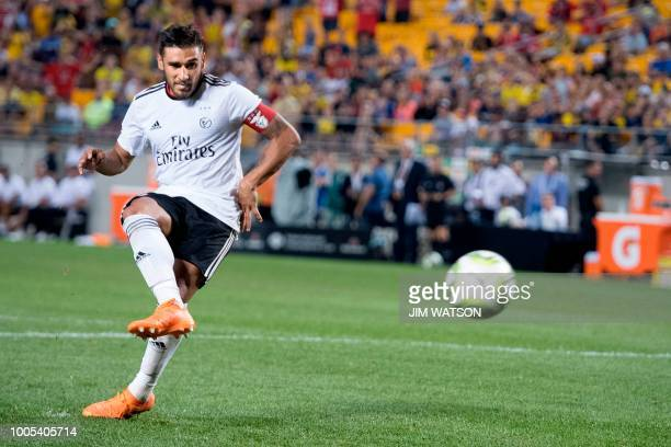 Benfica's Eduardo Salvio scores the winning goal in the shoot out against Borussia Dortmund during the 2018 International Champions Cup at Heinz...