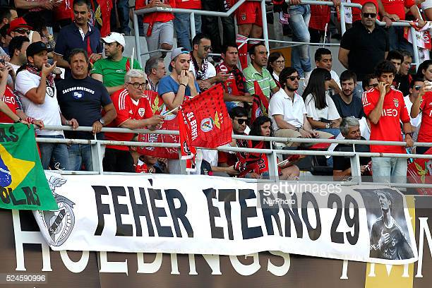 Benfica's fans remember the Miklos Feher death during the Premier League 2014/15 match between Vitoria de Guimar��es and SL Benfica at D Afonso...