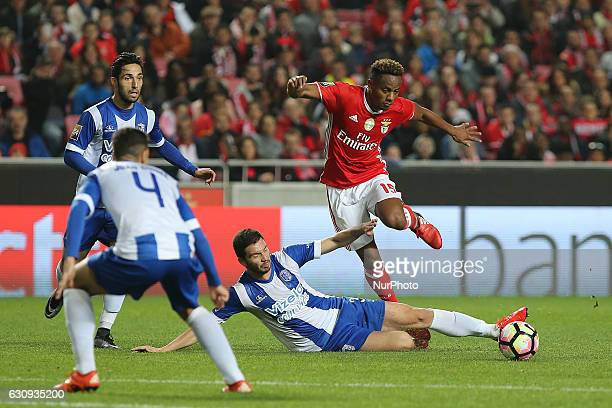 Benficas forward Andre Carrillo from Peru and Vizelas defender Joao Sousa from Portugal during the Portuguese Cup 2016/17 match between SL Benfica v...