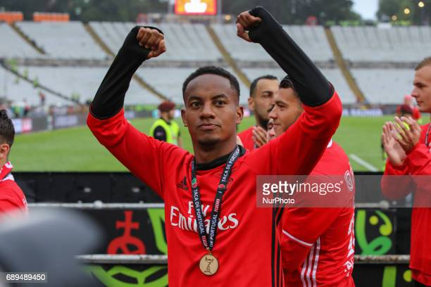 Benficas forward Andre Carrillo from Peru celebrating after wining the match between SL Benfica and Vitoria SC for the Portuguese Cup Final at...