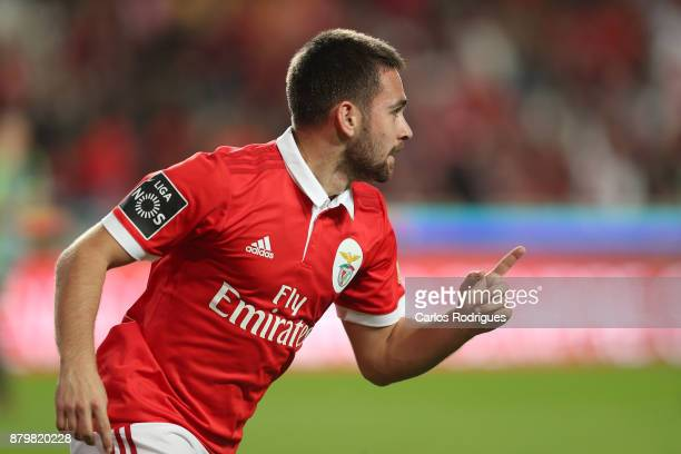 Benfica's forward Andrija Zivkovic from Serbia celebrates scoring Benfica sixth goal during the match between SL Benfica and FC Vitoria Setubal for...