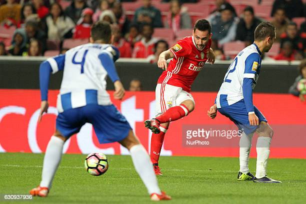 Benfica's forward Andrija Zivkovic vies with Vizela's defender Dani Coelho during the Portuguese League Cup football match SL Benfica vs FC Vizela at...