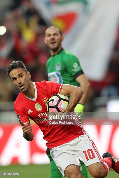 Benfica's forward Benfica's forward Jonas from Brasil celebrastes scoring Benfica second goal during the match between SL Benfica and Boavista FC for...