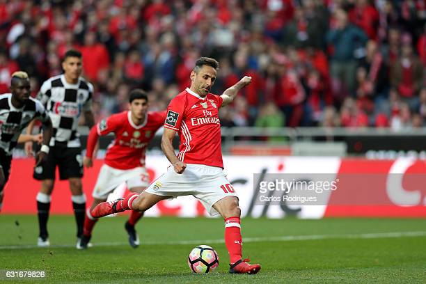 Benfica's forward Benfica's forward Jonas from Brasil scores Benfica second goal during the match between SL Benfica and Boavista FC for the...