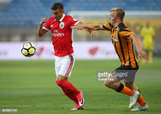 Benfica's forward Diogo Goncalves from Portugal with Hull City forward Jarrod Bowen in action during the Algarve Cup match between SL Benfica and...