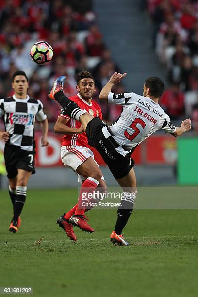 Benfica's forward Eduardo Salvio from Argentina vies with Boavista's defender Talocha from Portugal during the match between SL Benfica and Boavista...