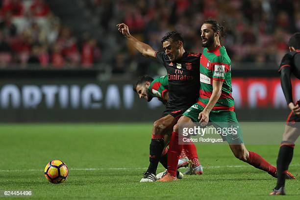Benfica's forward Eduardo Salvio from Argentina vies with Maritimo's midfielder Erdem Sen from Torquey during the SL Benfica v CS Maritimo Portuguese...