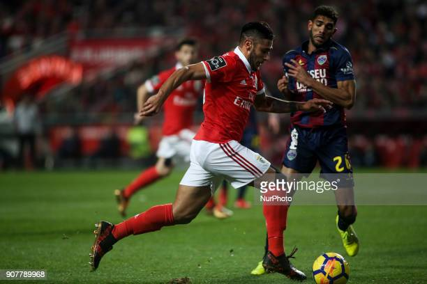Benfica's forward Eduardo Salvio in action with Chaves's defender Djavan during the Portuguese League football match between SL Benfica and GD Chaves...