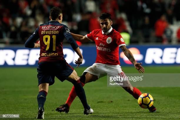 Benfica's forward Eduardo Salvio vies for the ball with Chaves's midfielder Davidson during Primeira Liga 2017/18 match between SL Benfica vs GD...