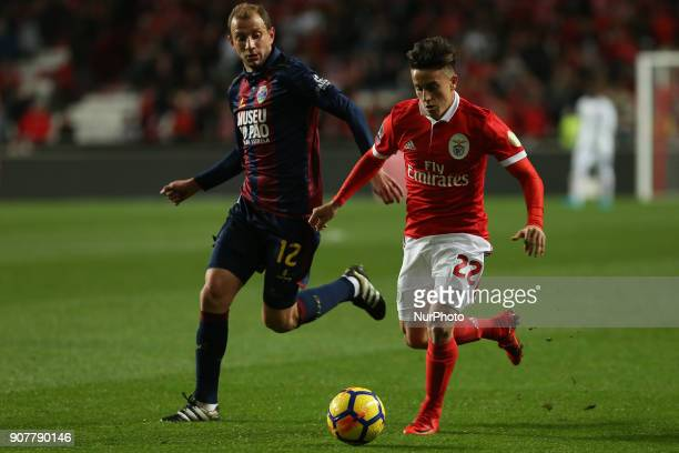 Benficas forward Franco Cervi from Argentina and GD Chaves midfielder Renan Bressan from Belarus during the Premier League 2017/18 match between SL...