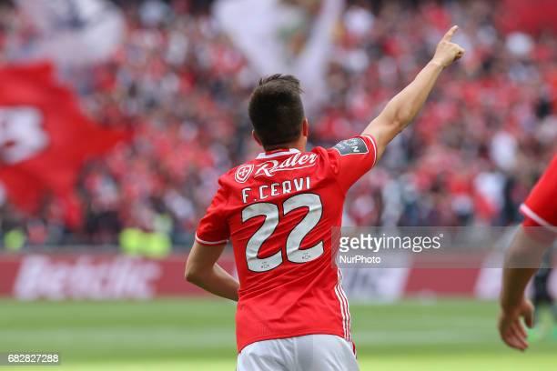 Benficas forward Franco Cervi from Argentina celebrating after scoring a goal during the Premier League 2016/17 match between SL Benfica v Vitoria...