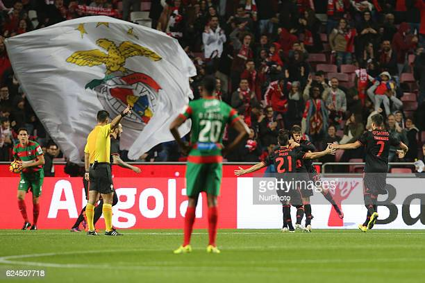Benficas forward Franco Cervi from Argentina celebrating with is team mate after scoring a goal during Portuguese Cup match between SL Benfica v CS...