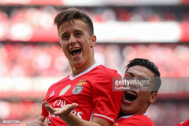 Benficas forward Franco Cervi from Argentina celebrating with Benficas forward Raul Jimenez from Mexico after scoring a goal during the Premier...