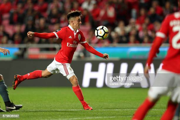 Benfica's forward Franco Cervi from Argentina during the match between SL Benfica and FC Vitoria Setubal for the Portuguese Primeira Liga at Estadio...