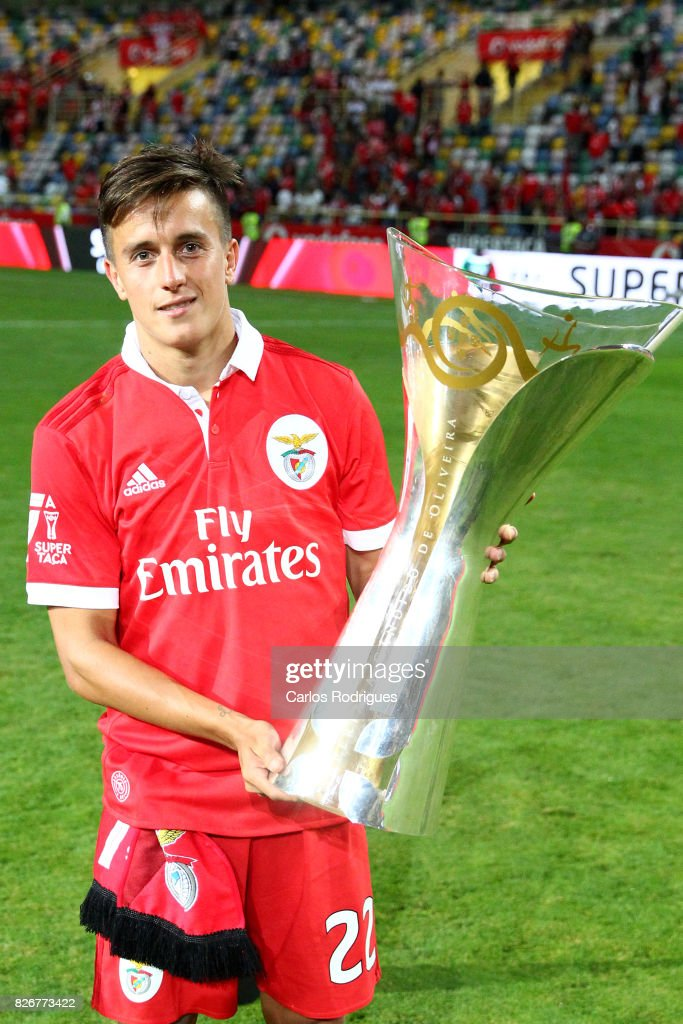 Benfica's forward Franco Cervi from Argentina with Portuguese Super Cup trophy after the match between SL Benfica and VSC Guimaraes at Estadio Municipal de Aveiro on August 05, 2017 in Lisbon, Portugal.