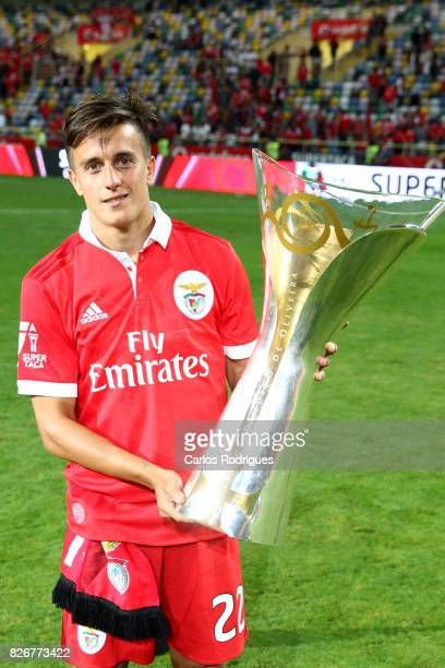 Benfica's forward Franco Cervi from Argentina with Portuguese Super Cup trophy after the match between SL Benfica and VSC Guimaraes at Estadio...