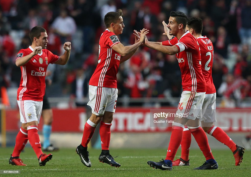 SL Benfica's forward from Argentina Franco Cervi celebrates with teammate SL Benfica's defender Andre Almeida after a goal during the Primeira Liga match between SL Benfica and Rio Ave FC at Estadio da Luz on January 14, 2017 in Lisbon, Portugal.