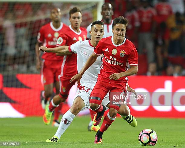 Benfica's forward from Argentina Franco Cervi in action during the Super Cup match between SL Benfica and SC Braga at Estadio Municipal de Aveiro on...