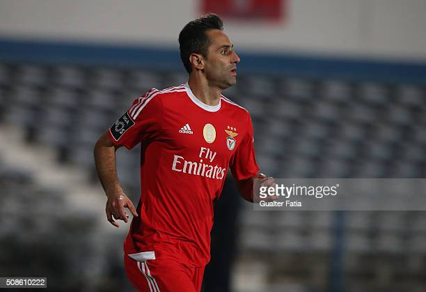 Benfica's forward from Brazil Jonas celebrates after scoring a goal during the Primeira Liga match between Os Belenenses and SL Benfica at Estadio do...