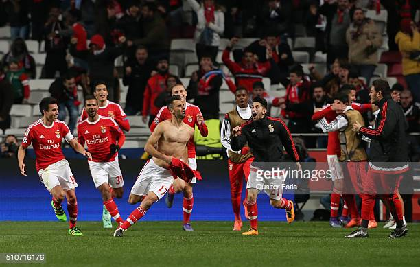 Benfica's forward from Brazil Jonas celebrates after scoring a goal during the UEFA Champions League Round of 16 First Leg match between SL Benfica...