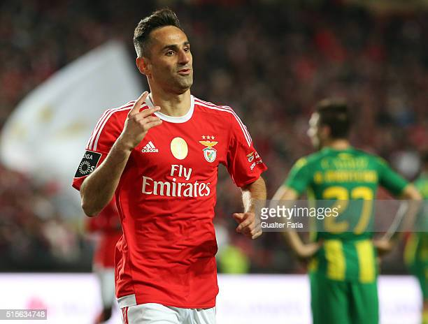 Benfica's forward from Brazil Jonas celebrates after scoring a goal during the Primeira Liga match between SL Benfica and CD Tondela at Estadio da...