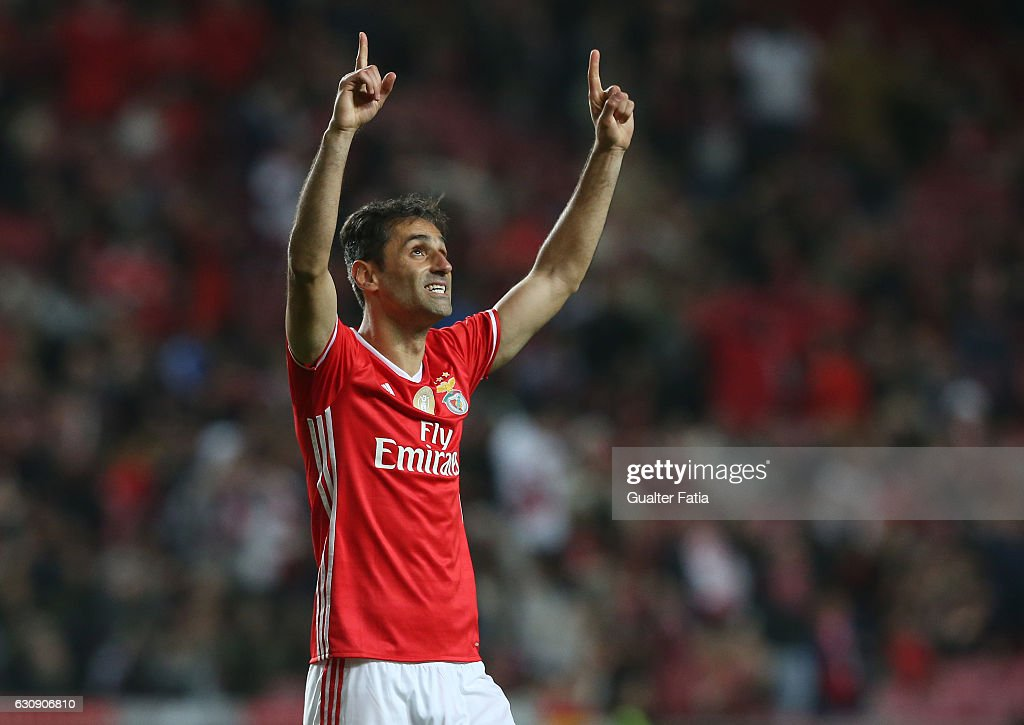 SL Benfica's forward from Brazil Jonas celebrates after scoring a goal during the Primeira Liga match between SL Benfica and FC Vizela at Estadio da Luz on January 3, 2017 in Lisbon, Portugal.